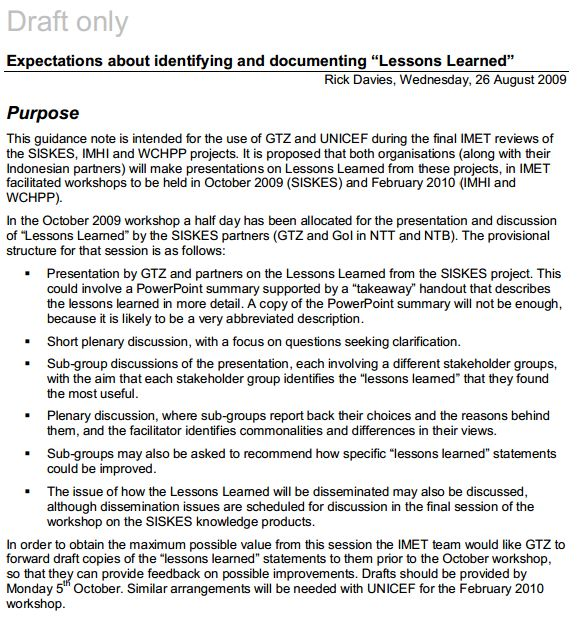 Lessons Learnt Better Evaluation