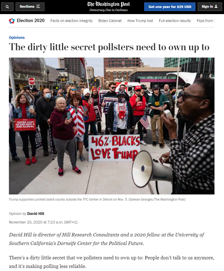 Article: The dirty little secret pollsters need to own up to