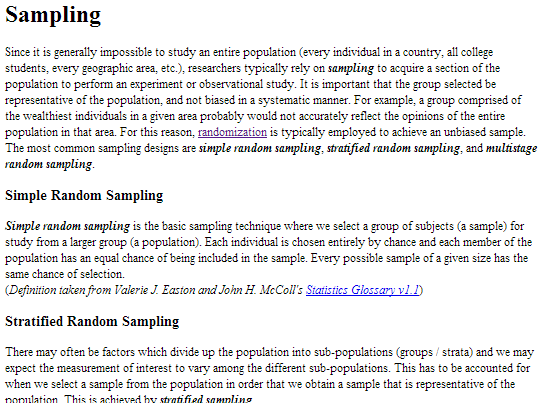 What is 'Simple Random Sample'