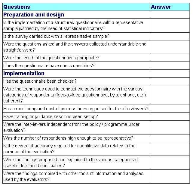 quality control check sheet template - survey quality control checklist better evaluation