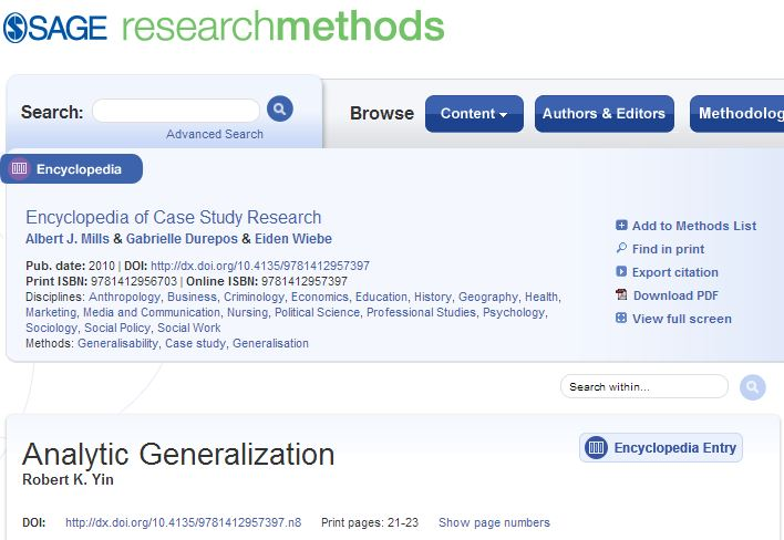 Encyclopedia Of Case Study Research Analytic Generalization