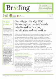 Lucks, D., Schwandt, T.,Ofir, Z.,El-Saddick, K.and D'Errico, S. (2016).Counting critically: SDG 'follow-up and review' needs interlinked indicators, monitoring and evaluation.IIED Briefing, July 2016. IIED.