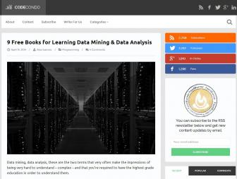 Ivanovs, A. (2014, 14 April). '9 Free Books for Learning Data Mining & Data Analysis'. Retrieved from http://codecondo.com/9-free-books-for-learning-data-mining-data-analysis