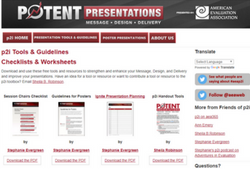 Potent Presentations (n.a.). Potent Presentations. Sponsored by the American Evaluation Society. Retrieved fromhttp://www.eval.org/p2i