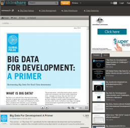 (2013) Big Data for Development: A primer. Global Pulse  Retrieved from: http://www.slideshare.net/unglobalpulse/big-data-for-development-a-primer