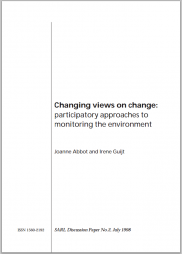 Abbot, J. & Guijt I. (1998) Changing views on change: participatory approaches to monitoring the environment: Retrieved from: https://web.archive.org/web/20140211172928/http://www.cgiar-ilac.org/files/Abbot_changing_views.pdf (archived)