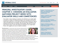 Marcussen, M. (n.d.) 'Chapter 3: Choosing an evaluator: Matching project needs with evaluator skills and competencies' inPrincipal Investigator's Guide. Retrieved from:http://www.informalscience.org/evaluation/pi-guide/chapter-3