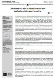 Choda, A. & Teladia, M.,2018, 'Conversations aboutmeasurement and evaluationin impact investing', AfricanEvaluation Journal 6(2), a332. https://doi.org/10.4102/aej.v6i2.332