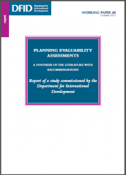 Davies, R. (2013) Planning Evaluability Assessments: A Synthesis of the Literature with Recommendations. 40 Working Paper, DFID. https://www.gov.uk/government/uploads/system/uploads/attachment_data/file/248656/wp40-planning-eval-assessments.pdf
