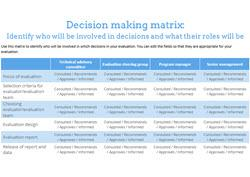 BetterEvaluation (2017). Decision Making Matrix  [Word document]. Retrieved from http://www.betterevaluation.org/sites/default/files/BetterEvaluation-Dec...