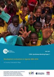 White H., Lubanga T., Rathinam F., Taremwa R., Kachero B., Otike C., Apunyo R., Siddiqui Z., Joshi A., Saran A., and Obuku E. 2021. Development evaluations in Uganda 2000–2018: A Country Evaluation Map. CEDIL Syntheses Working Paper 1. Oxford: Centre of Excellence for Development Impact and Learning (CEDIL). Available at: https://doi.org/10.51744/CSWP1