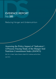 (Lintelo, D., Munslow, T. Lakshman, R. and Pittore, K.(2016). Assessing the Policy Impact of 'Indicators': A Process-Tracing Study of the Hunger And Nutrition Commitment Index (HANCI). Evidence Report No. 185. Reducing Hunger and Undernutrition.Institute of Development Studies. Retrieved from:https://opendocs.ids.ac.uk/opendocs/bitstream/handle/123456789/10405/ER1...  This is an Open Access publication distributed under the terms of the Creative Commons Attribution License, which permits unrestricted use, distribution, and reproduction in any medium, provided the original author and source are clearly credited.