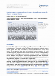Gunn, A. & Mintrom, M. (2016). 'Evaluating the non-academic impact of academic research: Design considerations'. In Journal of Higher Education Policy and Management (Vol 39, Issue 1). Pp. 20-30. Retrieved from http://www.tandfonline.com/doi/abs/10.1080/1360080X.2016.1254429
