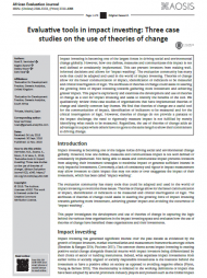 Verrinder, N.B., Zwane, K.,Nixon, D. & Vaca, S., 2018,'Evaluative tools in impactinvesting: Three case studieson the use of theories ofchange', African EvaluationJournal 6(2), a340. https://doi.org/10.4102/aej.v6i2.340