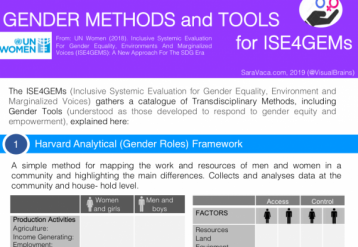"Vaca, S. (2019). My ""Home-Made"" Evaluation Tools to Avoid Gender (and Equity) Blindness by Sara Vaca. Retrieved from: https://aea365.org/blog/my-gender-tools-by-sara-vaca/  Infographic adapted by Sara Vaca from: Stephens, A., Lewis, E.D. and Reddy, S.M. 2018. Inclusive Systemic Evaluation (ISE4GEMs): A New Approach for the SDG Era. New York: UN Women."