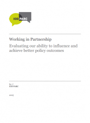 IOD PARC (2005). Working in Partnership: Evaluating our ability to influence and achieve better policy outcomes. Retrieved from: http://www.iodparc.com/resource/evaluating_partnership_outcomes.html