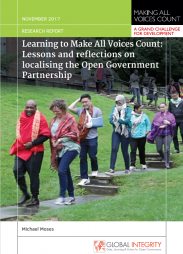 Citation for Final Synthesis Report:  Moses, M. (2017) Learning to Make All Voices Count: Lessons and reflections on localising the Open Government Partnership, Making All Voices Count Research Report, Brighton: IDS