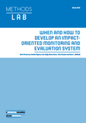 Peersman, G., Rogers, P., Guijt, I., Hearn, S., Pasanen, T., and Buffardi, A. (2016) 'When and how to develop an impact-oriented monitoring and evaluation system'. A Methods Lab publication. London: Overseas Development Institute.