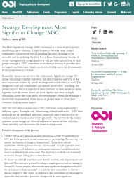 Overseas Development Institute (2009). Strategy Development: Most Significant Change. [Toolkit]. Retrieved from: https://www.odi.org/publications/5211-msc-most-significant-change-monito...