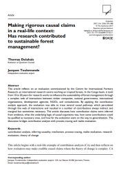 """Delahais, Thomas, and Jacques Toulemonde. """"Making rigorous causal claims in a real-life context: Has research contributed to sustainable forest management?."""" Evaluation 23, no. 4 (2017): 370-388."""