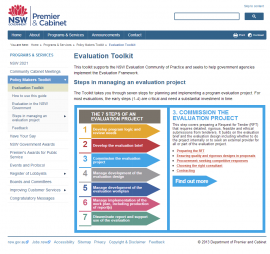 NSW Government, 2013,Evaluation Toolkit, Office of Premier and Cabinet. Retrieved fromhttp://www.dpc.nsw.gov.au/programs_and_services/policy_makers_toolkit/evaluation_toolkit
