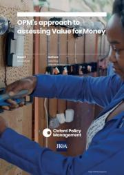 King and OPM (2018). The OPM approach to assessing value for money: A guide. Oxford: Oxford Policy Management Ltd. Retrieved from: https://www.opml.co.uk/publications/assessing-value-for-money