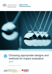 Rogers, P., Hawkins, A.,McDonald, B., Macfarlan, A. & Milne, C. (2015).Choosing appropriate designs and methods for impact evaluation.Department of Industry, Innovation and Science Report. Canberra, Australia.
