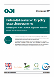 Pasanen, T., Raetz, S., Young, J., and Dart, J. (2018).Partner-led evaluation for policy research programmes: A thought piece on the KNOWFOR programme evaluation. Working paper 527. Overseas Development Institute (ODI). Retrieved from:https://www.odi.org/sites/odi.org.uk/files/resource-documents/11969.pdf