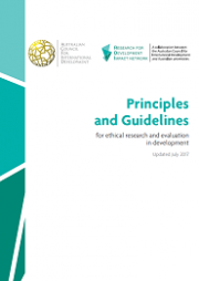 Australian Council for International Development (ACFID), (2017). Principles and Guidelines for Ethical Research and Evaluation, Deakin, Australia. Retrieved from: http://www.acfid.asn.au/aid-issues/files/principles-for-ethical-research...​