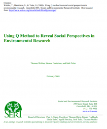 Webler, T., Danielson, S., & Tuler, S. (2009). Using Q method to reveal social perspectives in environmental research. Greenfield MA: Social and Environmental Research Institute. Downloaded from: http://www.seri-us.org/sites/default/files/Qprimer.pdf