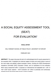 Bitar, Khalil. (2021). A Social Equity Assessment Tool (SEAT) for Evaluation.