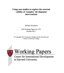 Woolcock, Michael (2013). Using case studies to explore the external validity of 'complex' development interventions, WIDER Working Paper No. 2013/096. October 2013. UNU-WIDER. Retrieved from: http://www.hks.harvard.edu/var/ezp_site/storage/fckeditor/file/pdfs/centers-programs/centers/cid/publications/faculty/wp/270_Woolcock.pdf