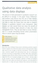 Williamson, T. and Long, A. (2005). 'Qualitative data analysis using data displays' inNurse Researcher, 12(3): 7-19