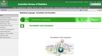 Australian Bureau of Statistics (2013, 3rd July). 'Correlation and Causation' in Statistical Language [Website]. Retrieved from http://www.abs.gov.au/websitedbs/a3121120.nsf/home/statistical+language+...