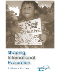 Anderson, G. (Ed.). (2010). Shaping International Evaluation: A 30-Year Journey. Montreal and Ottawa, Canada: UNIVERSALIA. http://documents.reflectlearn.org/Recent%20OA%20Publications/SIEa30YearJourney.pdf