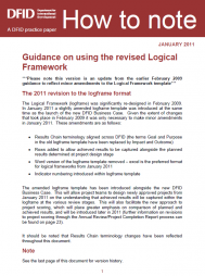 DFID. (2011). Guidance on Using the Revised Logical Framework, How to note. A DFID practice paper: Department for International Development (DFID). http://www.dfid.gov.uk/Documents/publications1/how-to-guid-rev-log-fmwk.pdf