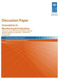 UNDP (2013) Discussion Paper: Innovations in Monitoring and Evaluation. [Draft] Retrieved from http://www.outcomemapping.ca/download/UNDP%20Discussion%20Paper%20Innovations%20in%20Monitoring%20and%20Evaluation.pdf