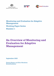 Rogers, P. and Macfarlan, A. (2020). An overview of monitoring and evaluation for adaptive management. Monitoring and Evaluation for Adaptive Management Working Paper Series, Number 1, September. Retrieved from: https://www.betterevaluation.org/en/monitoring-and-evaluation-adaptive-m...