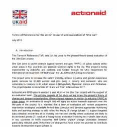 ActionAid. (July 2015) Terms of Reference for the action research and evaluation of 'She Can'. Available at: https://evaluatingc4d-evaluatingc4d.pbworks.com/w/file/113509342/she_can_joint_evaluation_terms_of_reference_final.pdf   (Accessed: 24 April 2017).