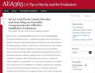 Stevahn, L. and Kind, J. (2015). 'QUAL Eval Week: Laurie Stevahn and Jean King on Essential Competencies for Effective Qualitative Evaluators' in AEA365 | A Tip-A-Day by and for Evaluators [Blog]. Retrieved from:  http://aea365.org/blog/qual-eval-week-laurie-stevahn-and-jean-king-on-essential-competencies-for-effective-qualitative-evaluators/