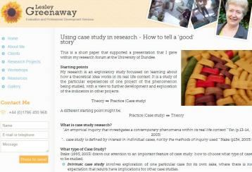 Greenway, L. (2011). Using case study in research - How to tell a 'good' story. [Website]. Retrieved from http://www.evaluationservices.co.uk/46/Using-case-study-research-How-to-tell-039good039-story/