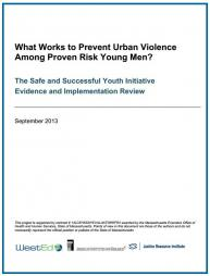 Campie, P.E., Petrosino, A., Pace, J., Fronius, T., Guckenburg, S. Wiatrowski, & Ward, S. (2013). What Works to Prevent Urban Violence Among Proven Risk Young Men? The Safe and Successful Youth Initiative Evidence and Implementation Review. Massachusetts Executive Office of Health and Human Services. Boston, MA.