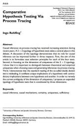 Rohlfing, Ingo (2014): Comparative Hypothesis Testing Via Process Tracing. Sociological Methods & Research 43 (4): 606-642.