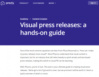 Prezly (2017). Visual press releases: a hands-on guide. Prezly.com. Retrieved from: https://www.prezly.com/academy/content-creation/ultimate-guide-visual-pr...