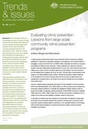 Morgan, A. and Homel, P. (2013, July). 'Evaluating crime prevention: Lessons from large-scale community crime prevention programs' in Trends & issues in crime and criminal justice (no. 458)​ pp.441-460.
