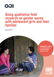 Samuels, F., Jone, N., Watson, C. and Brodbeck, S. (2015) Doing qualitative field research on gender norms with adolescent girls and their families. Available at: https://www.odi.org/sites/odi.org.uk/files/odi-assets/publications-opinion-files/9809.pdf (Accessed: 14 February 2017).