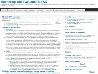 'A list of M&E email lists' (2008).Monitoring and Evaluation NEWS[Website]. Retrieved from:http://mande.co.uk/2008/lists/email-lists/a-list-of-me-email-lists/