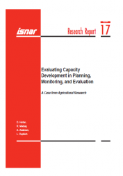 Horton, D., Mackay, R., Andersen, A., & Dupleich, L. (2000). Evaluating Capacity Development in Planning, Monitoring, and Evaluation: A Case from Agricultural Research, Research Report No 17. The Hague: International Service for National Agricultural Research (ISNAR). http://preval.org/files/2104.pdf