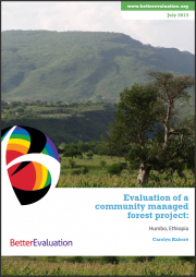 Kaboré, Carolyn (2013) Evaluation of a community managed forest project in Humbo, Ethiopia. BetterEvaluation, Melbourne, Victoria.