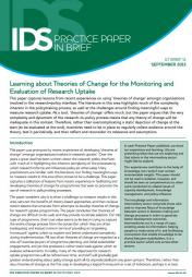 Barnett, C. and Gregorowski, R. (2013) 'Learning about theories of change for the monitoring and evaluation of research uptake' in IDS Practice Paper in Brief 14, September 2013.